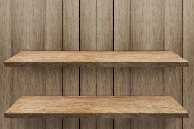 Esvazie a prateleira 2 no fundo da parede de madeira, modelo de simulação para produto