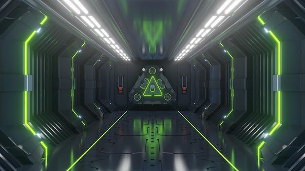 Esvazie a sala de sci fi futurista escuro, luz de corredores de nave espacial verde
