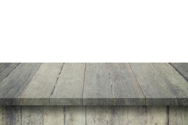 Esvazie a tabela de madeira no fundo branco do isolado e exiba a montagem com espaço da cópia para o produto.