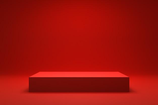 Esvazie o fundo vermelho e a exposição ou prateleira do suporte. render 3d realista.
