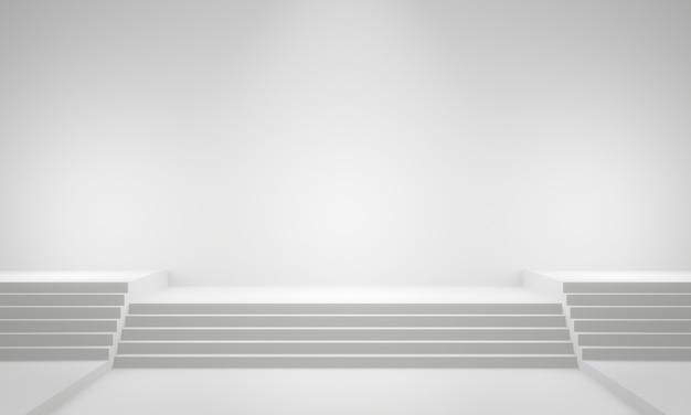 Etapa de escada branca renderizada em 3d