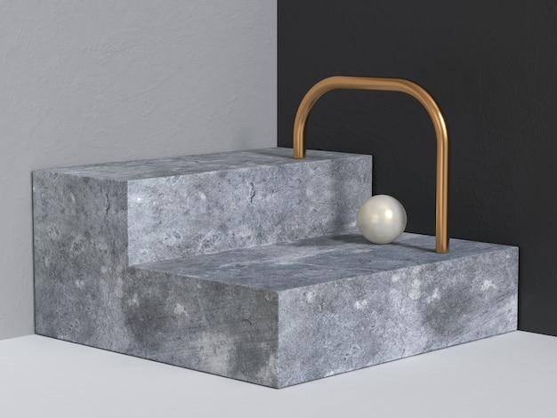 Etapas concretas pódio fundo abstrato 3d rendering geométrico moderno
