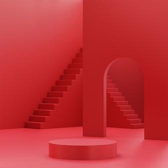 Etapas de estágio de pódio para colocação de produto em vermelho