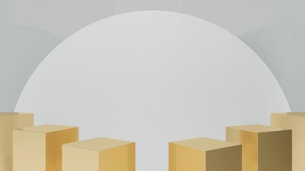 Etapas de pedestal de caixa de ouro isoladas no círculo branco