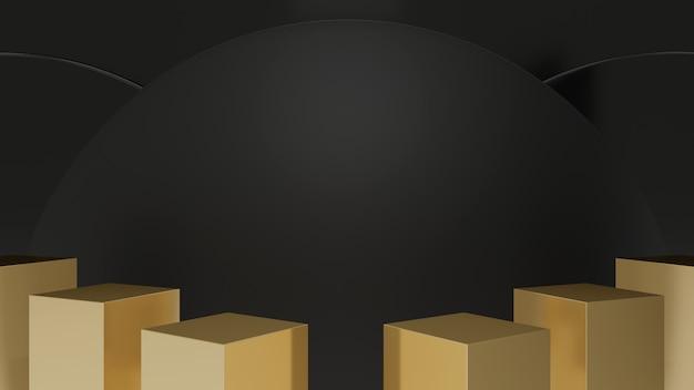 Etapas de pedestal de caixa de ouro isoladas no círculo preto