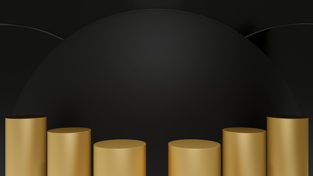 Etapas de pedestal de cilindro de ouro isoladas no círculo preto