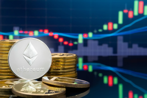 Ethereum e cryptocurrency conceito de investimento.