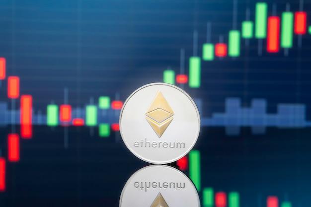Ethereum e cryptocurrency conceito de investimento.