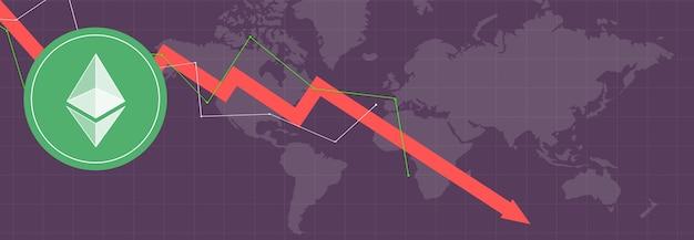 Ethereum em métricas e gráficos multicoloridos em planos de fundo multicoloridos e no mapa mundial
