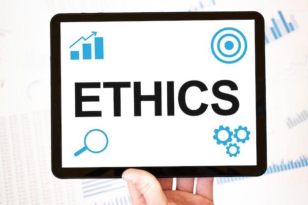 Ética. conceito de página da web de negócios de tecnologia de estratégia. metas