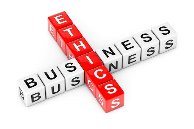 Ética empresarial assinar como blocos de cubo de palavras cruzadas em um fundo branco. renderização 3d