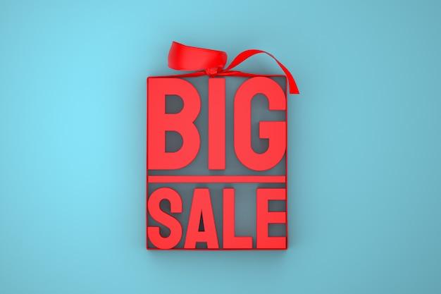 Etiqueta 3d vermelha de grande venda com arco e fita azul