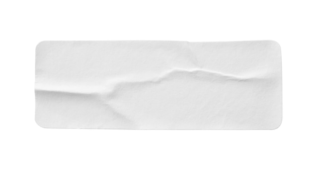Etiqueta autocolante de papel branco em branco isolada no fundo branco
