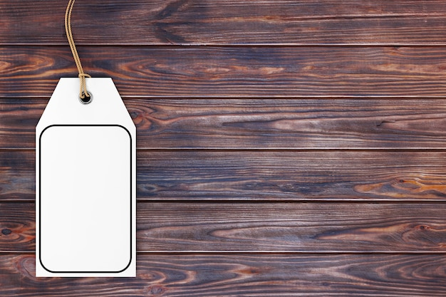 Etiqueta branca em branco vazio etiqueta com corda e espaço vazio para seu projeto em uma mesa de madeira. renderização 3d