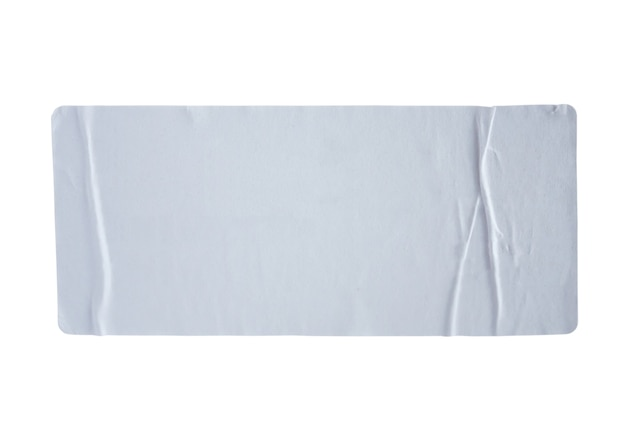 Etiqueta de adesivos com traçado de recorte isolado no branco