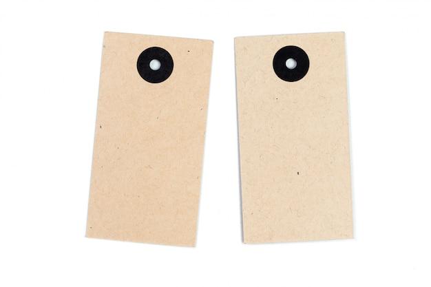 Etiqueta de papel em branco ou pano tag conjunto isolado