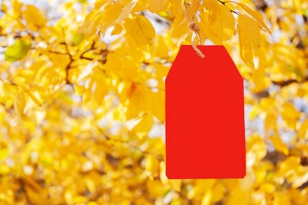 Etiqueta de papel vermelho em branco pendurada em galhos de uma árvore de outono com folhas amarelas