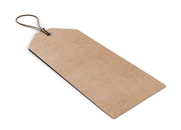 Etiqueta de papelão em branco isolada no branco