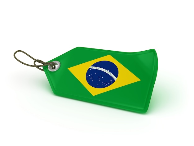 Etiqueta de preço de compras bandeira brasileira
