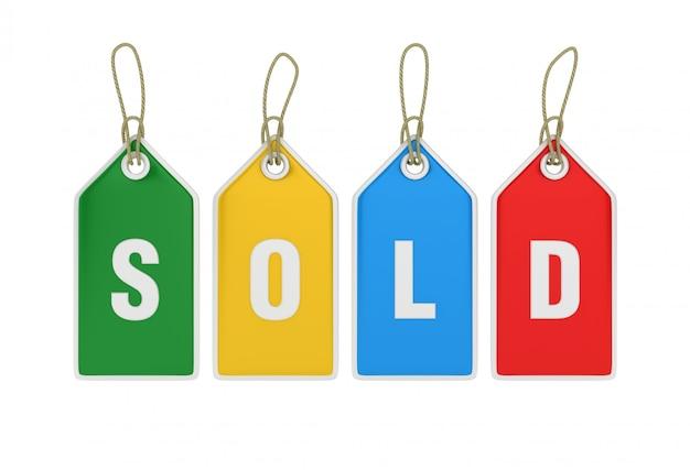 Etiqueta de preço de compras de suspensão vendido
