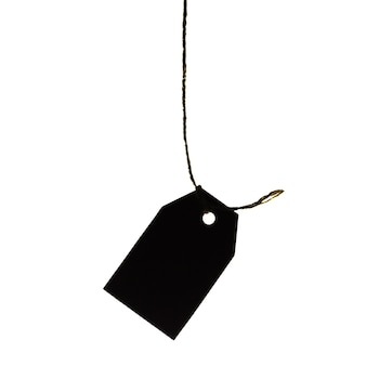 Etiqueta de preço de papelão pendurada em uma corda, isolada no fundo branco