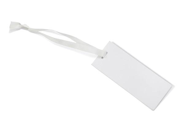 Etiqueta de preço em branco sobre fundo branco