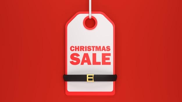 Etiqueta de venda de natal 3d com texto e cinto de papai noel ilustração de renderização em 3d