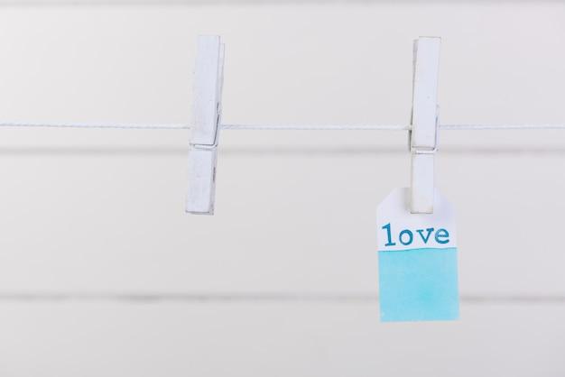 Etiqueta do amor pendurar com corda e prendedor de pano