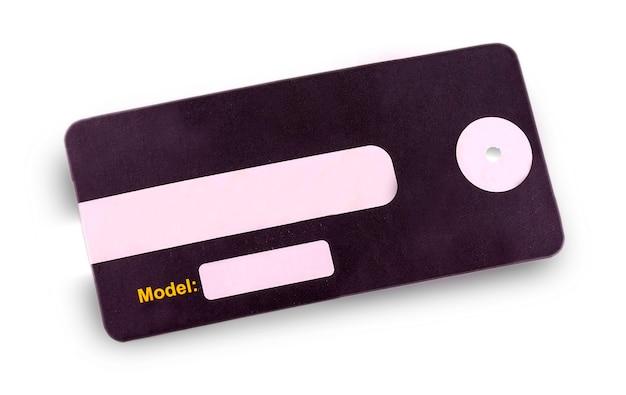 Etiqueta em branco amarrada com barbante. etiqueta de preço, etiqueta de presente, etiqueta de venda, etiqueta de endereço.