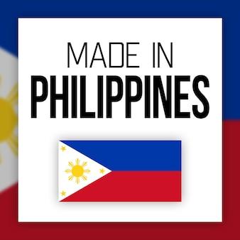 Etiqueta feita nas filipinas, ilustração com bandeira nacional