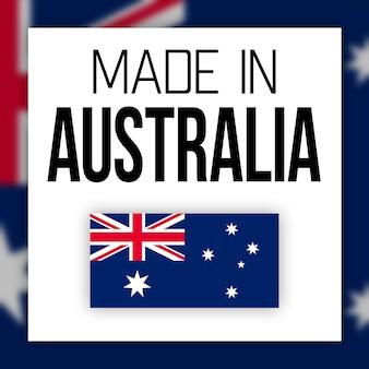 Etiqueta made in australia, ilustração com bandeira nacional