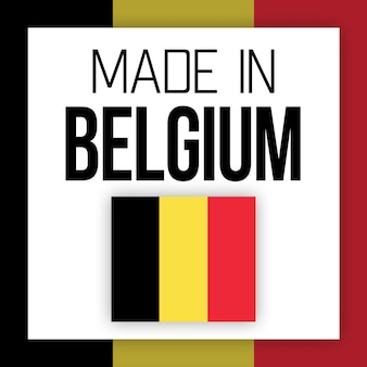 Etiqueta made in belgium, ilustração com bandeira nacional