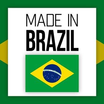 Etiqueta made in brazil, ilustração com bandeira nacional