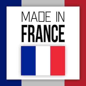 Etiqueta made in france, ilustração com bandeira nacional