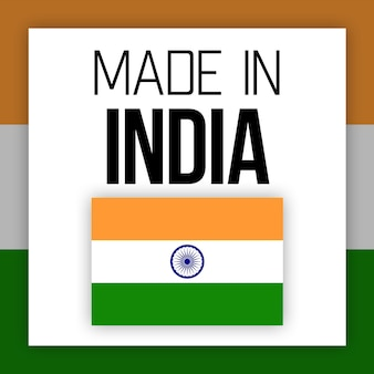 Etiqueta made in india, ilustração com bandeira nacional