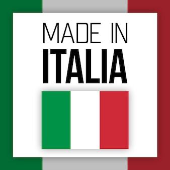 Etiqueta made in italia, ilustração com bandeira nacional