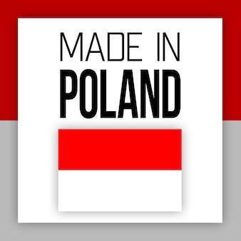 Etiqueta made in poland, ilustração com bandeira nacional