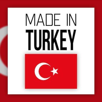 Etiqueta made in turkey, ilustração com bandeira nacional