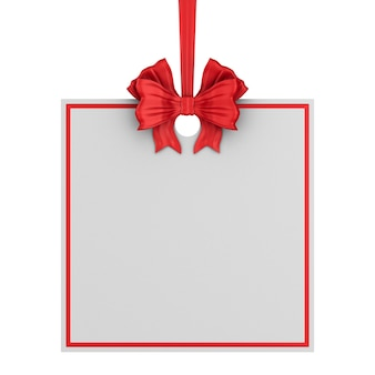 Etiqueta quadrada de natal com fita vermelha e arco em fundo branco. ilustração 3d isolada