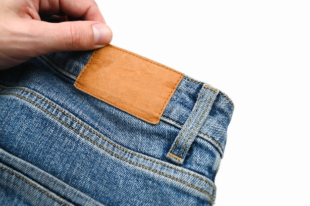 Etiqueta traseira em jeans, close-up. foto de alta qualidade