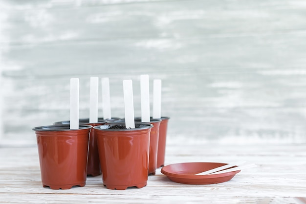 Etiquetas brancas em vasos marrons em branco de madeira