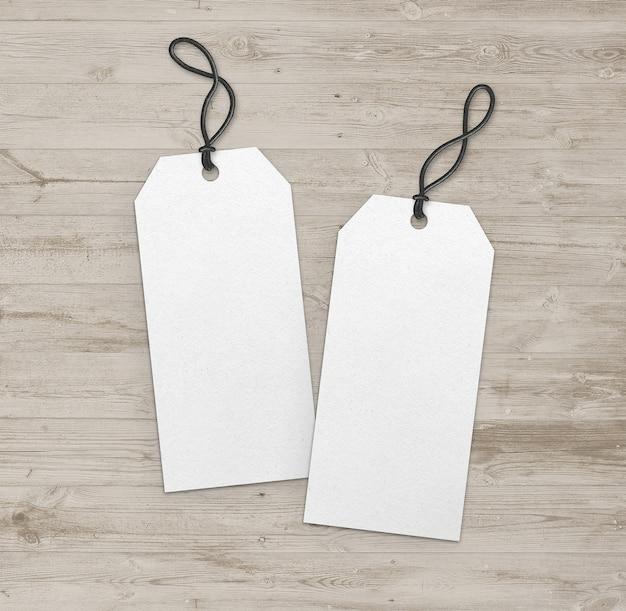 Etiquetas duplas brancas compridas com faixa preta