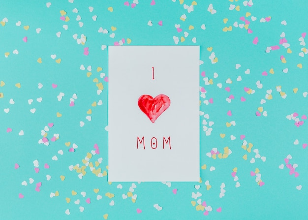 Eu amo a mamãe inscrição no papel