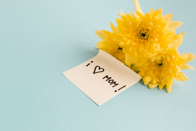Eu amo mamãe nota perto de flores amarelas