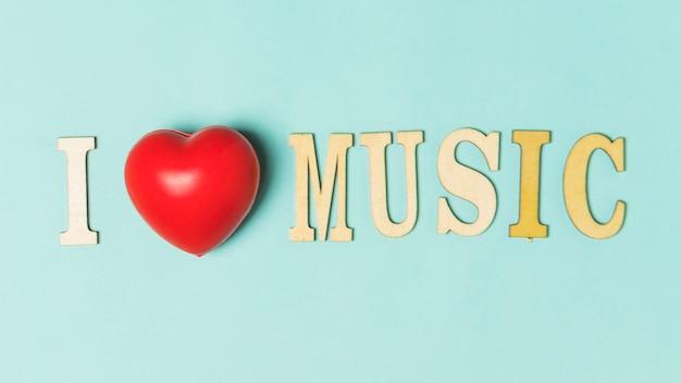 Eu amo música texto com coração vermelho em fundo turquesa
