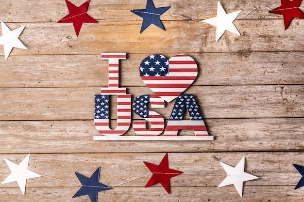 Eu amo o cartão dos eua com enfeite de estrelas. decoração dos estados unidos para comemoração