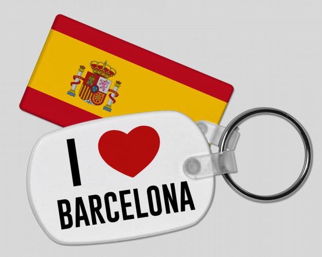 Eu amo o chaveiro de barcelona - férias e férias