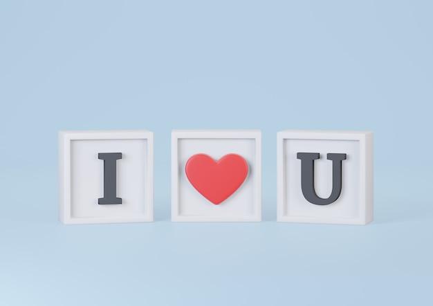 Eu amo u palavras em cubo sobre fundo azul. feliz dia dos namorados conceito. renderização 3d.