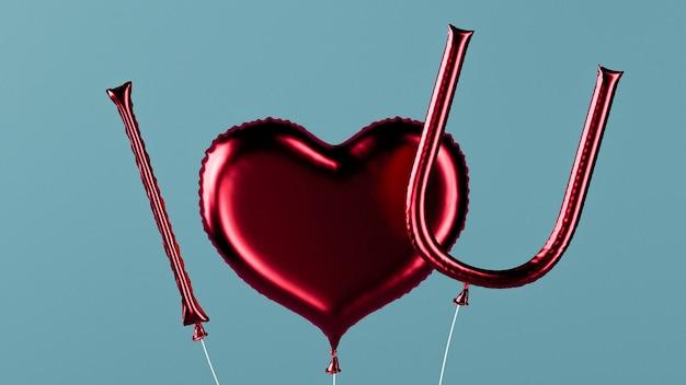 Eu te amo balões de mensagem