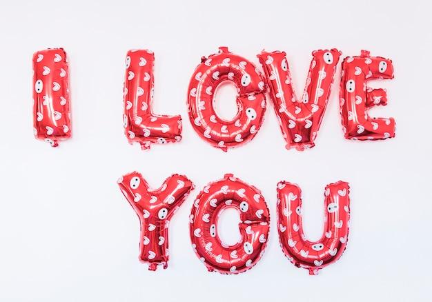 Eu te amo inscrição de balões